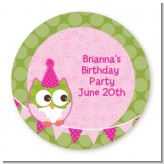 Owl Birthday Girl - Round Personalized Birthday Party Sticker Labels