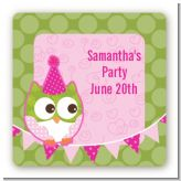 Owl Birthday Girl - Square Personalized Birthday Party Sticker Labels