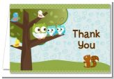 Owl - Look Whooo's Having Twin Boys - Baby Shower Thank You Cards