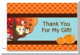 Owl - Fall Theme or Halloween - Baby Shower Thank You Cards