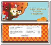 Owl - Fall Theme or Halloween - Personalized Baby Shower Candy Bar Wrappers