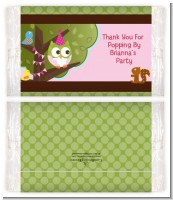 Owl Birthday Girl - Personalized Popcorn Wrapper Birthday Party Favors