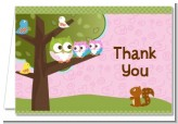 Owl - Look Whooo's Having Twin Girls - Baby Shower Thank You Cards