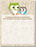 Owl - Look Whooo's Having A Baby - Baby Shower Notes of Advice