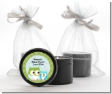 Owl - Look Whooo's Having A Boy - Baby Shower Black Candle Tin Favors