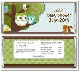 Owl - Look Whooo's Having A Boy - Personalized Baby Shower Candy Bar Wrappers