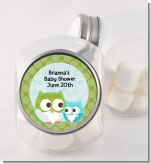 Owl - Look Whooo's Having A Boy - Personalized Baby Shower Candy Jar