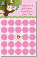 Owl - Look Whooo's Having A Girl - Baby Shower Gift Bingo Game Card