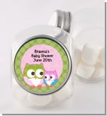 Owl - Look Whooo's Having A Girl - Personalized Baby Shower Candy Jar
