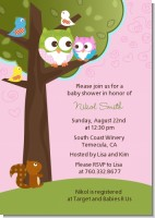 Owl - Look Whooo's Having A Girl - Baby Shower Invitations