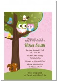Owl - Look Whooo's Having A Girl - Baby Shower Petite Invitations