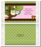 Owl - Look Whooo's Having A Girl - Personalized Popcorn Wrapper Baby Shower Favors