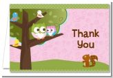 Owl Girl Baby Shower Thank You Cards