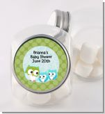 Owl - Look Whooo's Having Twin Boys - Personalized Baby Shower Candy Jar