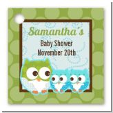 Owl - Look Whooo's Having Twin Boys - Personalized Baby Shower Card Stock Favor Tags