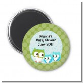 Owl - Look Whooo's Having Twin Boys - Personalized Baby Shower Magnet Favors