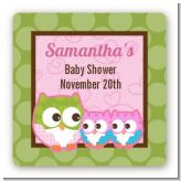 Owl - Look Whooo's Having Twin Girls - Square Personalized Baby Shower Sticker Labels