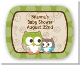 Owl - Look Whooo's Having A Baby - Personalized Baby Shower Rounded Corner Stickers