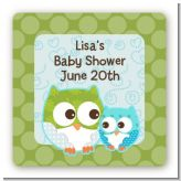 Owl - Look Whooo's Having A Boy - Square Personalized Baby Shower Sticker Labels