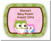 Owl - Look Whooo's Having A Girl - Personalized Baby Shower Rounded Corner Stickers