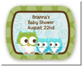 Owl - Look Whooo's Having Twin Boys - Personalized Baby Shower Rounded Corner Stickers