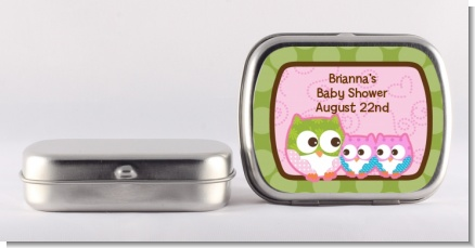 Owl - Look Whooo's Having Twin Girls - Personalized Baby Shower Mint Tins