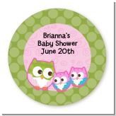 Owl - Look Whooo's Having Twin Girls - Round Personalized Baby Shower Sticker Labels