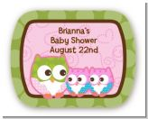 Owl - Look Whooo's Having Twin Girls - Personalized Baby Shower Rounded Corner Stickers