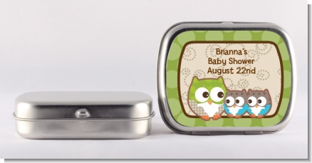 Owl - Look Whooo's Having Twins - Personalized Baby Shower Mint Tins
