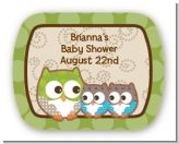 Owl - Look Whooo's Having Twins - Personalized Baby Shower Rounded Corner Stickers