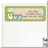 Owl - Look Whooo's Having Twins - Baby Shower Return Address Labels