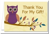 Retro Owl - Birthday Party Thank You Cards