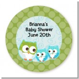 Owl - Look Whooo's Having Twin Boys - Round Personalized Baby Shower Sticker Labels
