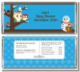Owl - Winter Theme or Christmas - Personalized Baby Shower Candy Bar Wrappers thumbnail