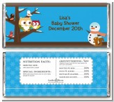 Owl - Winter Theme or Christmas - Personalized Baby Shower Candy Bar Wrappers