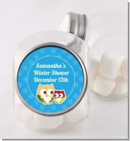 Owl - Winter Theme or Christmas - Personalized Baby Shower Candy Jar