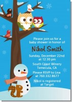 Owl - Winter Theme or Christmas - Baby Shower Invitations