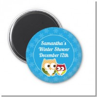 Owl - Winter Theme or Christmas - Personalized Baby Shower Magnet Favors