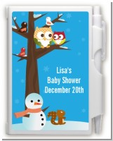 Owl - Winter Theme or Christmas - Baby Shower Personalized Notebook Favor