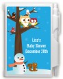 Owl - Winter Theme or Christmas - Baby Shower Personalized Notebook Favor thumbnail