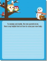 Owl - Winter Theme or Christmas - Baby Shower Notes of Advice