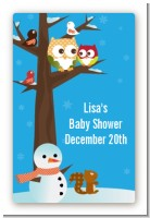 Owl - Winter Theme or Christmas - Custom Large Rectangle Baby Shower Sticker/Labels