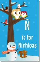 Owl - Winter Theme or Christmas - Personalized Baby Shower Nursery Wall Art