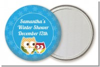 Owl - Winter Theme or Christmas - Personalized Baby Shower Pocket Mirror Favors