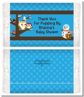 Owl - Winter Theme or Christmas - Personalized Popcorn Wrapper Baby Shower Favors