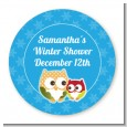 Owl - Winter Theme or Christmas - Round Personalized Baby Shower Sticker Labels thumbnail
