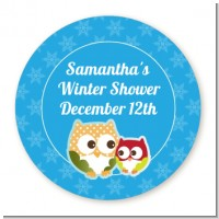 Owl - Winter Theme or Christmas - Round Personalized Baby Shower Sticker Labels