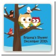 Owl - Winter Theme or Christmas - Square Personalized Baby Shower Sticker Labels thumbnail