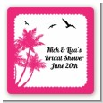 Palm Tree - Square Personalized Bridal Shower Sticker Labels thumbnail