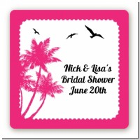 Palm Tree - Square Personalized Bridal Shower Sticker Labels